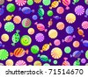 colorful striped candy seamless pattern on dark violet background - stock photo