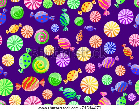 colorful striped candy seamless pattern on dark violet background - stock vector