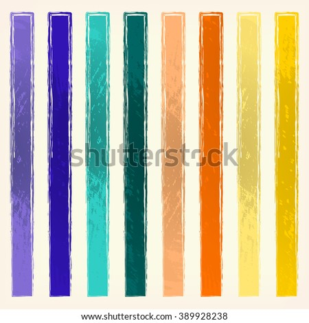Colorful stripes, pale yellow background. Painted design element. Watercolor illustration for web or typography (magazine, brochure, flyer, poster).