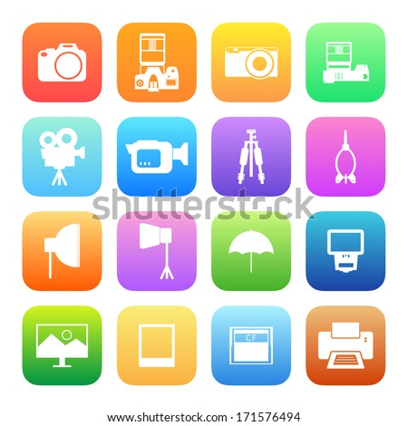 Colorful style Camera and accessory icons vector set. - stock vector