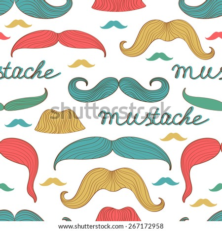 Colorful stylish seamless mustache pattern. Vector illustration - stock vector