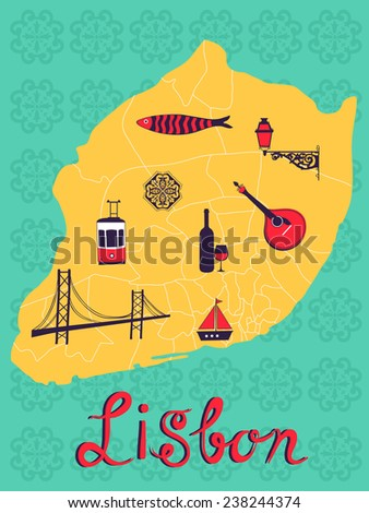 Colorful stylized map of Lisbon with tipical icons and illustrations. vector illustration - stock vector