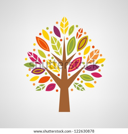 Colorful stylized tree - stock vector