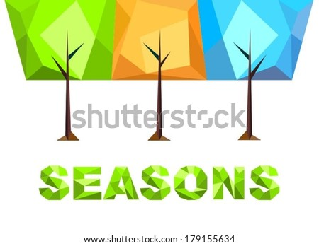 Colorful stylized trees on a white background, seasons, vector, symbol - stock vector
