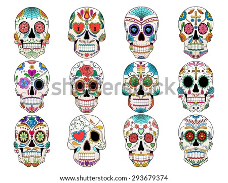 Colorful Sugar Skulls - stock vector