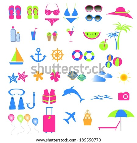 Colorful summer and beach icon