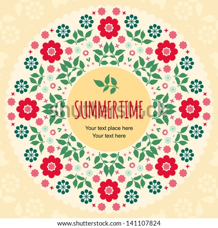 Colorful summer floral background - stock vector