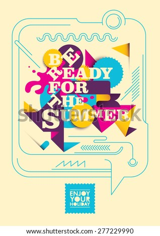 Colorful summer poster design. Vector illustration. - stock vector