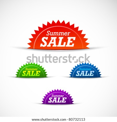 Colorful summer sale badges and tags - stock vector