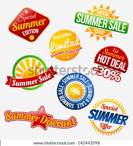 Colorful summer sale labels set - stock vector