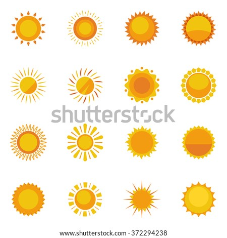Colorful sun icons collection for design on white background with sunbeams flat isolated vector illustration    - stock vector