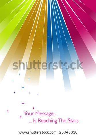 Colorful sunburst with stars on white