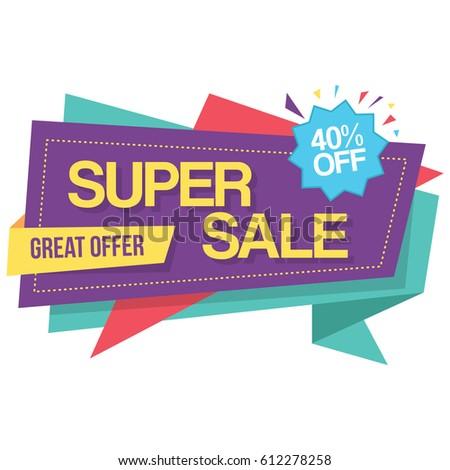 Colorful Super Sale Best Offer Banner Stock Vector 612277829