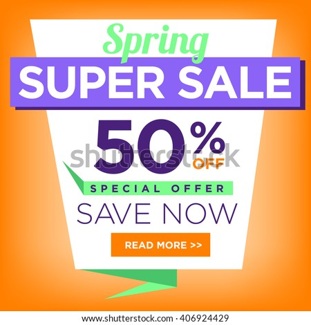 Colorful super sale 50 percent off stock vector 406924429 colorful super sale 50 percent off special offer save now poster or flyer template with read pronofoot35fo Choice Image