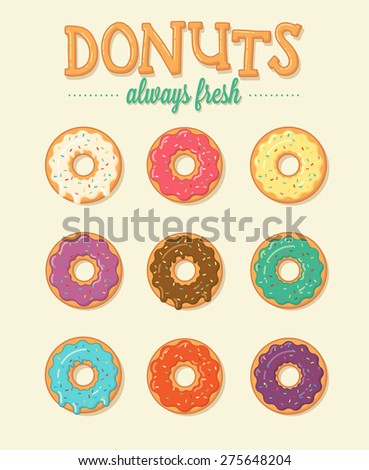 Colorful sweet donuts set. Vector illustration - stock vector