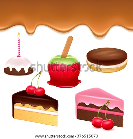 Colorful sweets icons set - caramel drip border apple cakes chocolate cookie vector illustration. - stock vector