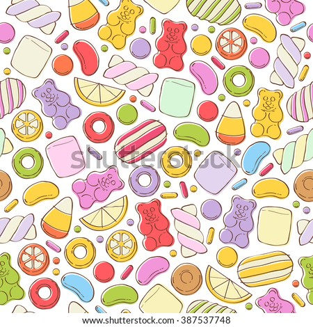 Colorful sweets seamless background - marshmallow gummy bears hard candies dragee jelly beans peppermint candy. Hand drawn sketch style vector pattern illustration. - stock vector