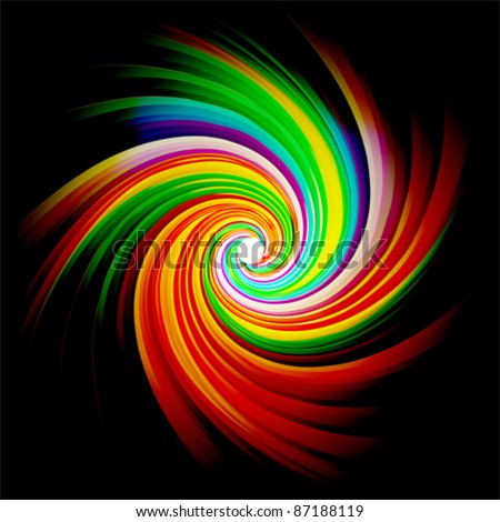 colorful swirl background, vector - stock vector