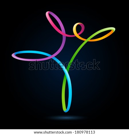 Colorful swirly figure on black background