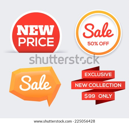 Colorful tags. Design elements for web and mobile applications. Vector illustration. - stock vector
