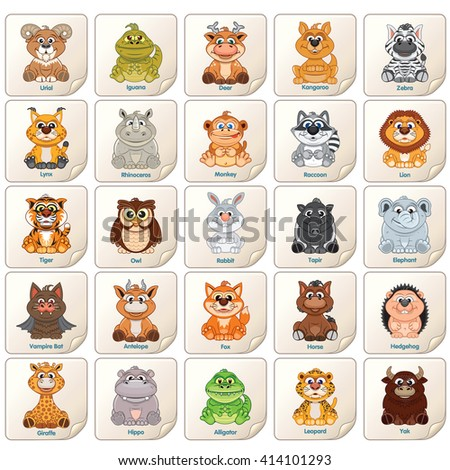 Colorful Tags, Labels or Stickers with Cute Zoo Animals, Birds and Reptiles. Vector Clip Art Lion, Monkey, Deer, Owl, yak, Raccoon, Rabbit, Deer etc