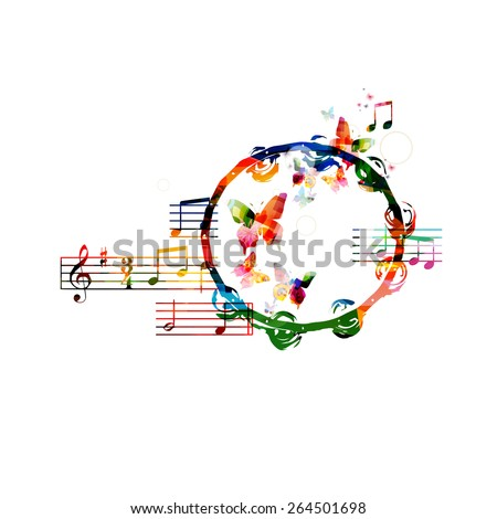 Colorful tambourine background - stock vector