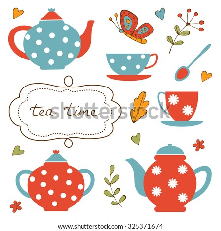 Colorful tea party set. Illustration in vector format