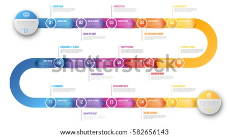 Colorful template business concept timeline arrows stock vector colorful template business concept timeline arrows infographics layout with 15 steps workflow history with cheaphphosting