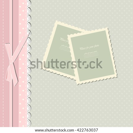 Colorful template for adult, kid, child photo album. Vector illustration.