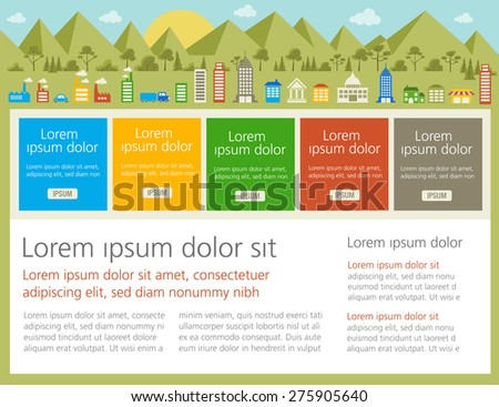 Colorful template for advertising brochure with a big colorful city - stock vector
