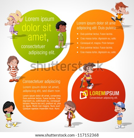 Colorful template for advertising brochure with a group of cute happy cartoon kids playing - stock vector