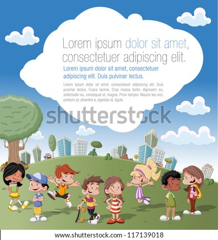 Colorful template for advertising brochure with a group of cute happy cartoon kids  playing in green park on the city - stock vector