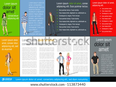 Colorful template for advertising brochure with fashion cartoon young people - stock vector