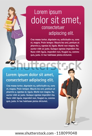 Colorful template for advertising brochure with teenager student and speech balloons - stock vector