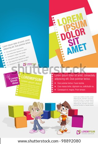 Colorful template with kids in the school - stock vector