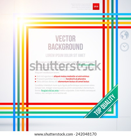 Colorful text frame on white background. EPS10 - stock vector