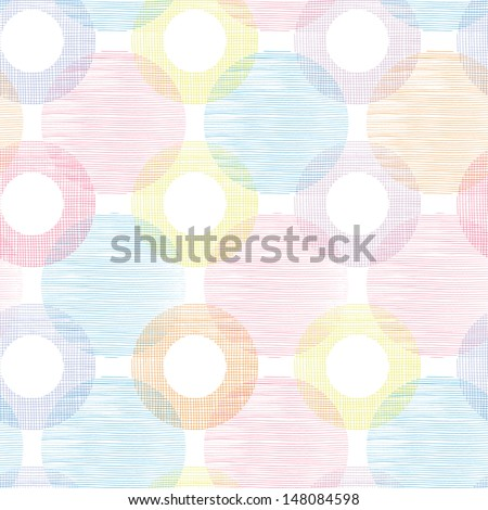 Colorful textile circles seamless patter background border - stock vector