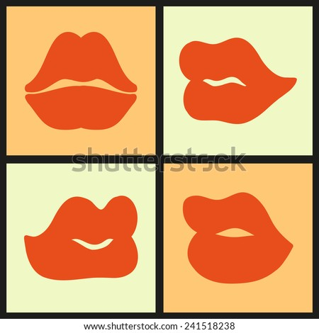 Colorful texture with kisses. Pop art purple lips, icons set, vector illustration - stock vector