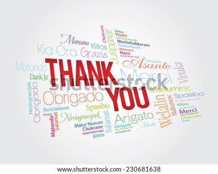 Colorful Thank You Word Cloud in vector format - stock vector