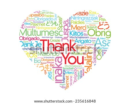Colorful Thank You Word Cloud in vector format, different languages composed in the shape of love/heart - stock vector