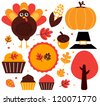 Colorful thanksgiving design elements isolated on white - stock photo