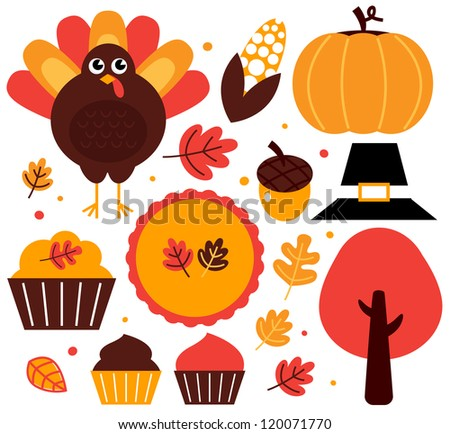 Colorful thanksgiving design elements isolated on white - stock vector