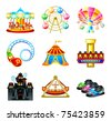 Colorful theme park attraction icons - stock photo