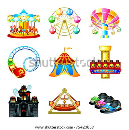 Colorful theme park attraction icons - stock vector