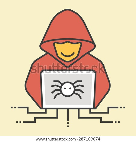 Colorful thin line hacker icon - stock vector