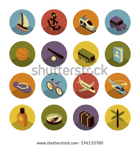 Colorful three dimensional icons of Traveling, Transportation and Summer Holiday - stock vector