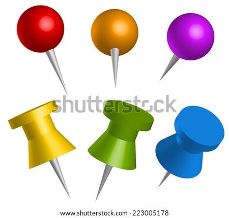Colorful thumbtacks, push pins - stock vector