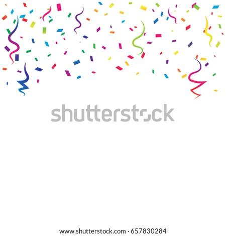 Colorful Tiny Confetti And Streamer Ribbon Falling On White Background. Celebration. Festive. Multicolored. Vector
