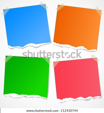 Colorful torn paper stickers, labels, notes and reminders with tape. Vector illustration - stock vector