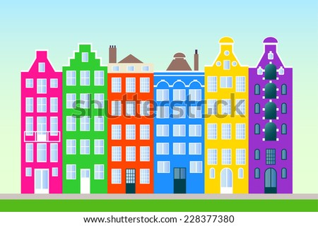Colorful  town - stock vector